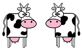 cartoon cows black and white two pair