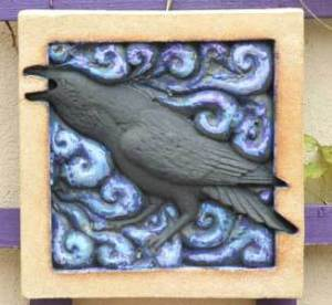 raven art ceramic tile Ama Menec