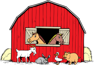 red dutch barn horse goat rabbit duck pig hay