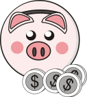 dollars piggy bank cartoon money pink