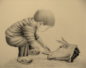 drawing jo frederiks both are victims child dish sheep's head