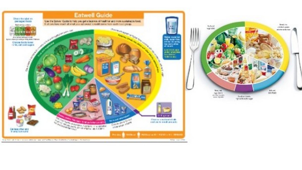 Eat well Guide pie chart fruit vegetables dairy food groups