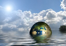 The Earth sea level rising global warming