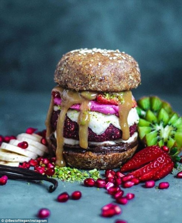 sweet vegan burger strawberries bananas kiwi fruit pomegranate best of vegan daily mail