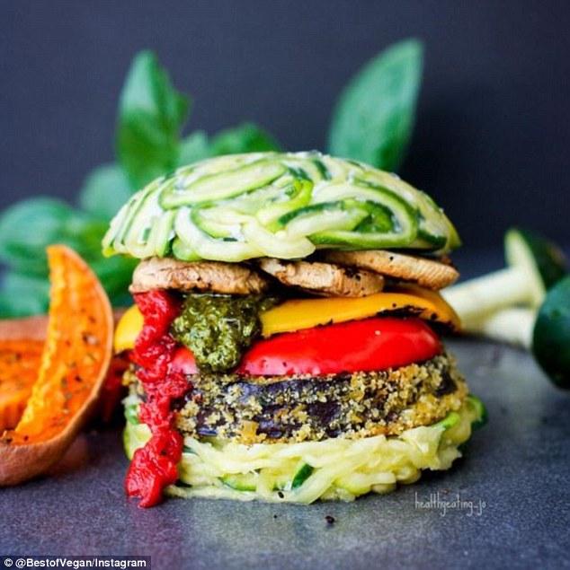 vegan burger zucchini tomato pepper pesto
