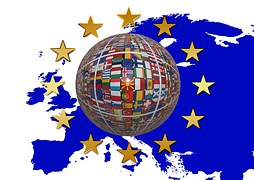 EU European Union Europe map globe world 28 countries stars remain brexit referendum