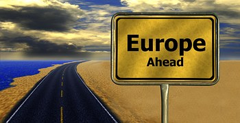 Europe ahead road sign EU referendum Brussels Remain Brexit
