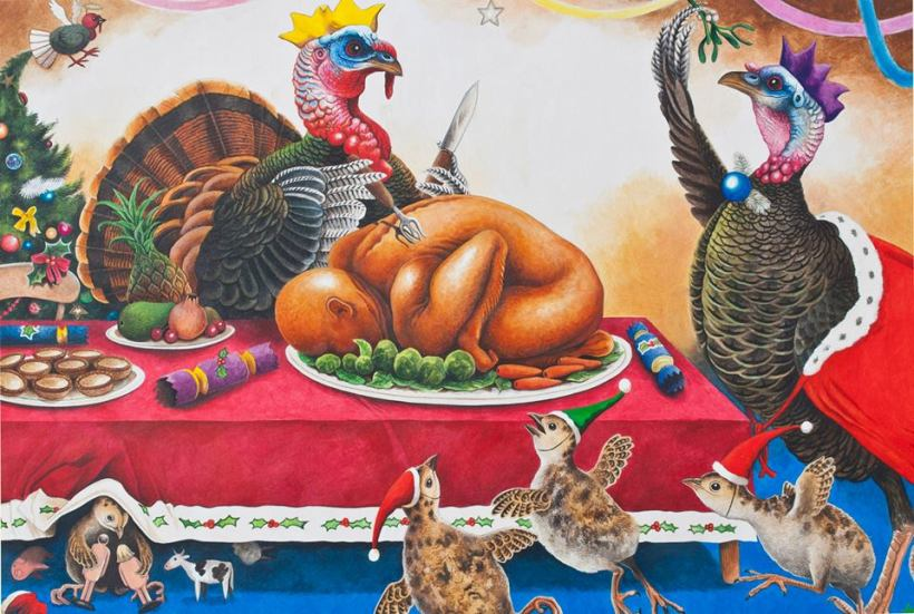 andrew tilsley christmas dinner roast turkey feast food celebration acrylic on paper