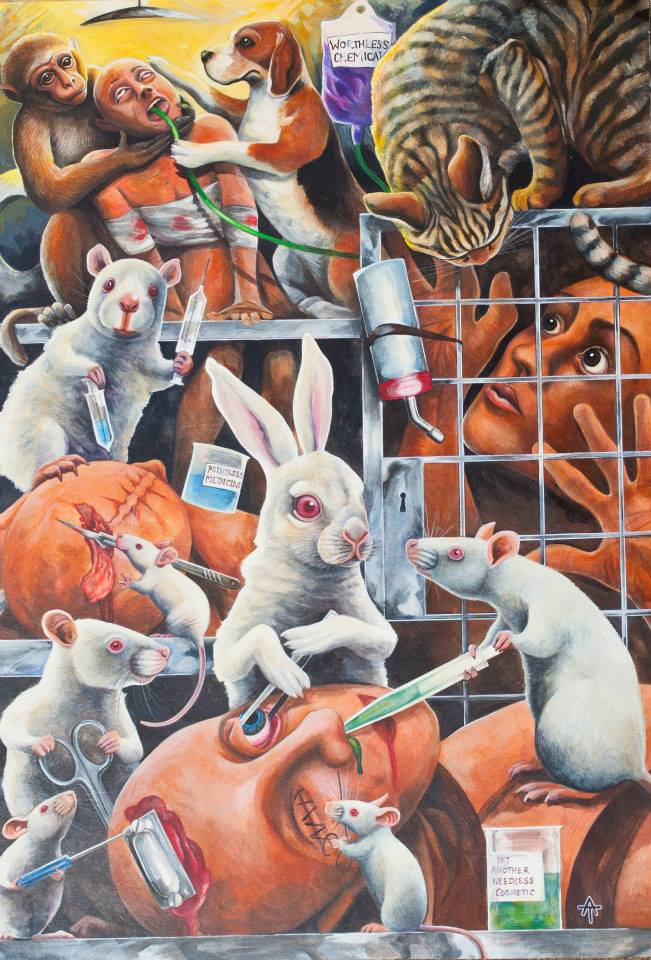cures for diseases andrew Tilsley artwork medical experiments animal testing rats rabbits syringe acrylic on paper