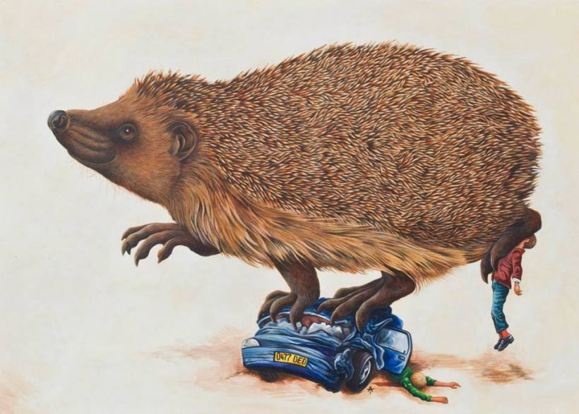 hedgehog roadkill andrew tilsley acrylic on paper car squashed vegan art