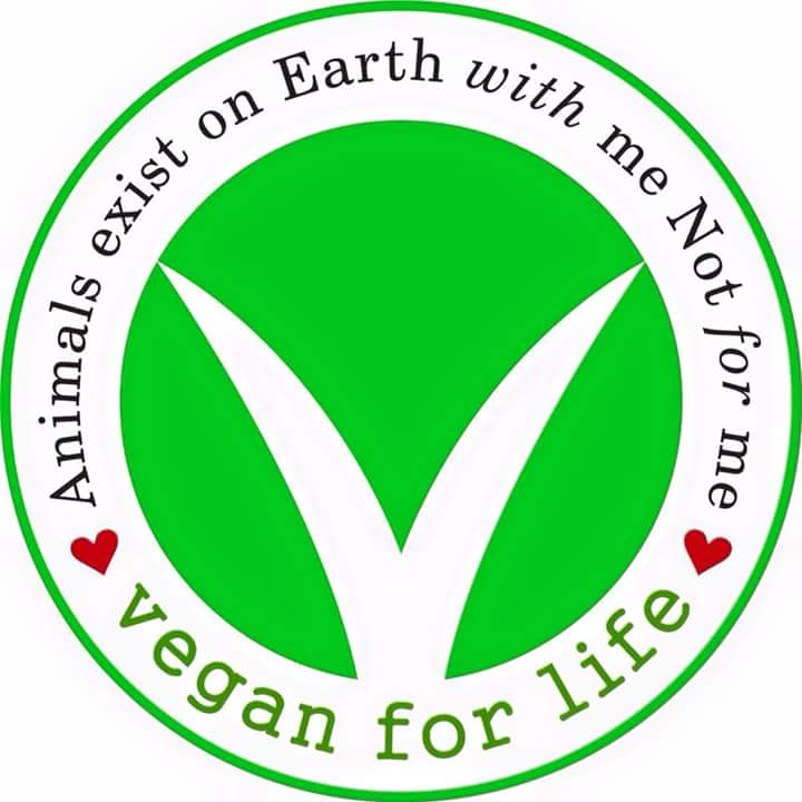 Animals exist on earth with me not for me Vegan for life v badge hearts