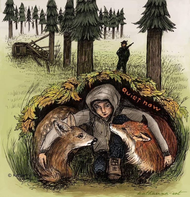 Hunting deer fox animals hunter gun protecting hiding