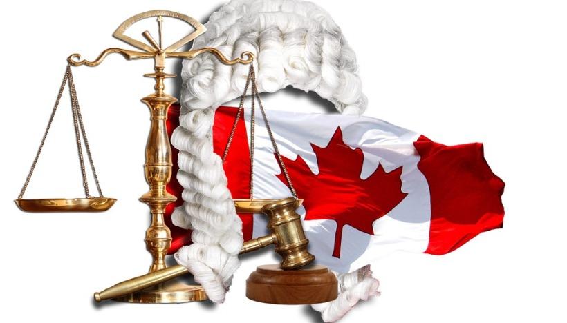canada flag justice law wig scales