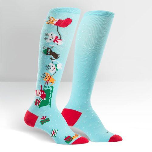 gift christmas socks blue cats