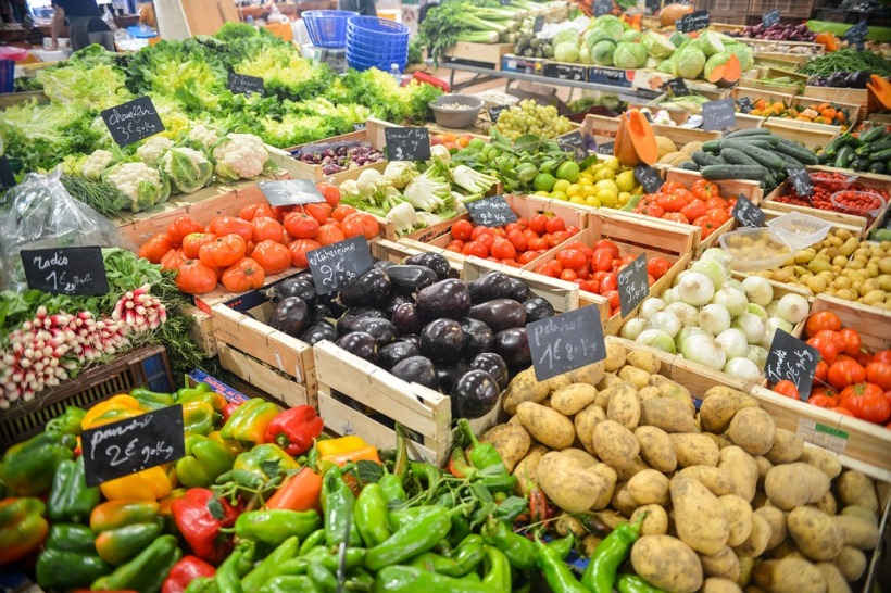 vegetables market stall colour fresh healthy food