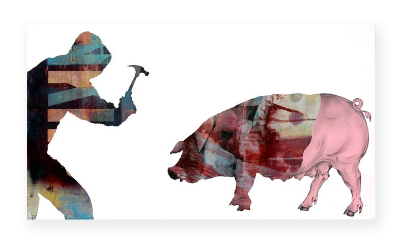 hammer pig hurt kill why not eat your pet Gale Hart art animal rights vegan