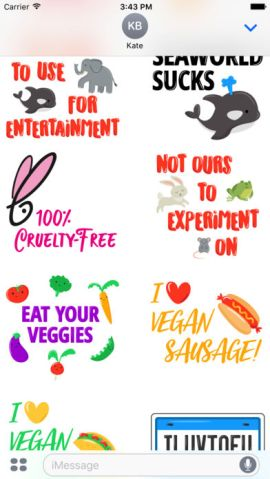 Animal rights stickers emoji peta