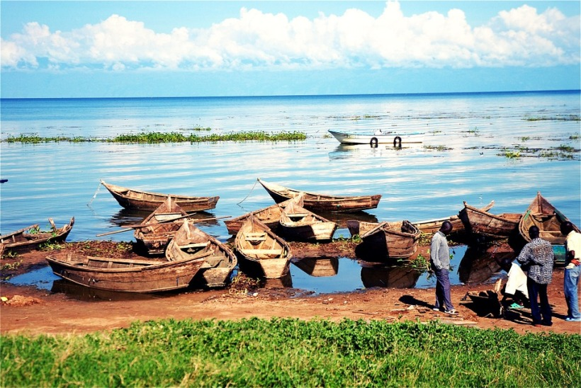 Fisherman fishing boats Lake Victoria Uganda