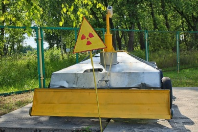 radiation warning sign and barrier chernobyl exclusion zone